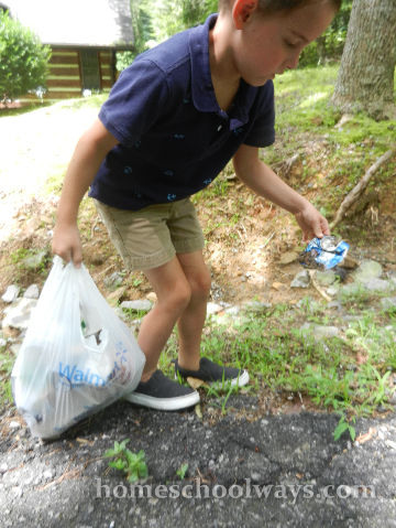 Picking up litter
