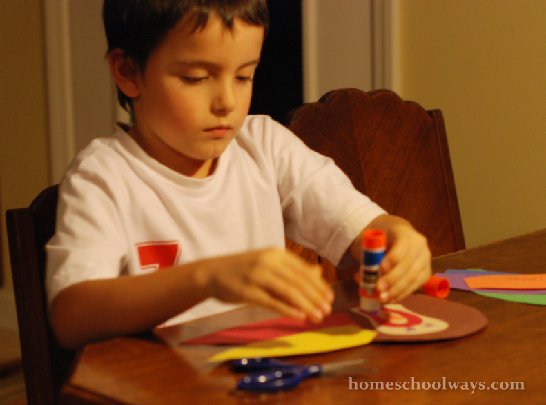 Boy making Thanksgiving Craft