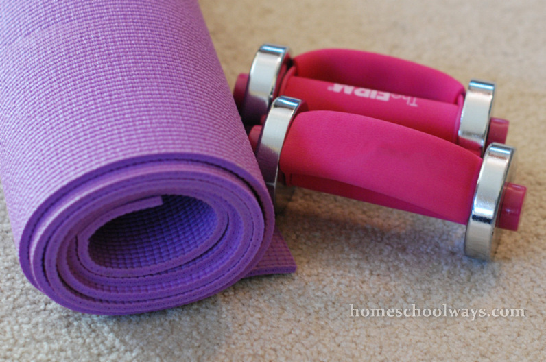 Purple Exercise Mat and Pink Weights