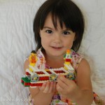 My daughter with the LEGO Education Simple Machines Pack Crazy Floors