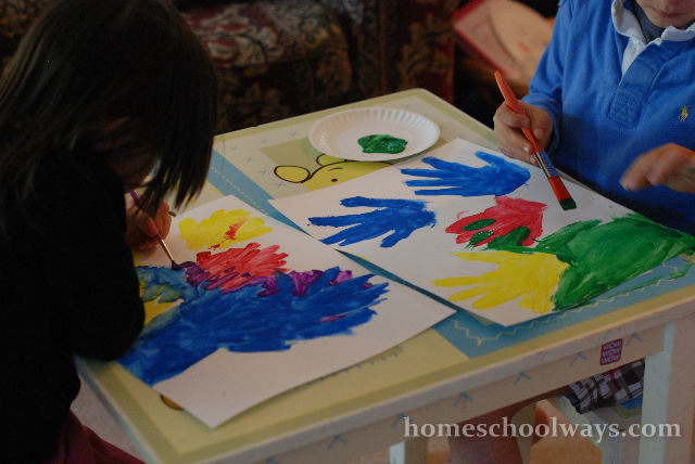 Hand prints in primary colors