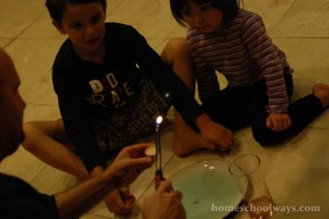 Science experiment - dad and children