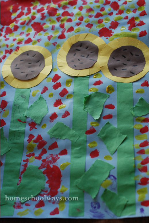 Van Gogh's Sunflowers, one of the projects on Home Art Studio DVD for Kindergarten