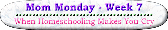 Mom Monday Week 7 When Homeschooling Makes You Cry