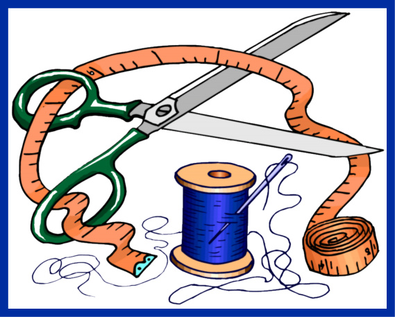 scissors, needle, thread, sewing