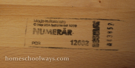 Made in Romania stamp on our IKEA Numerar tabletop