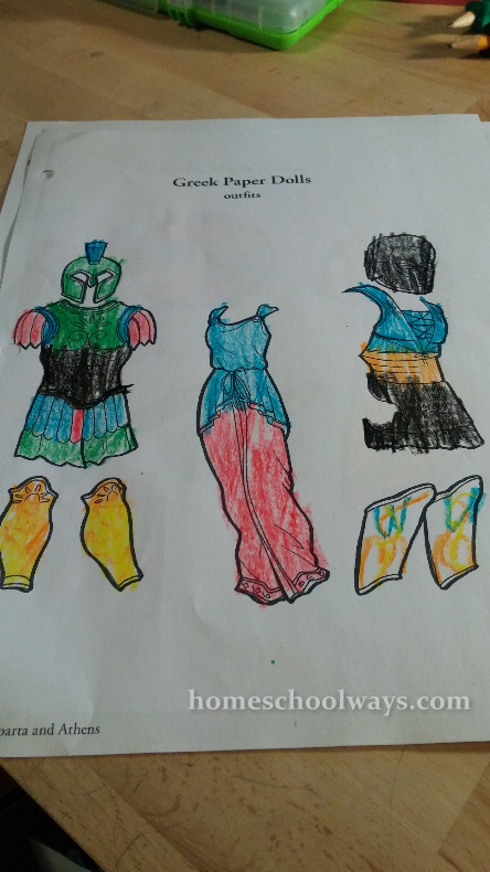 Greek Paper Dolls colored by my son