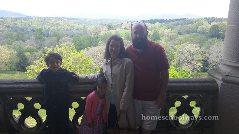 Family on the Biltmore House balcony