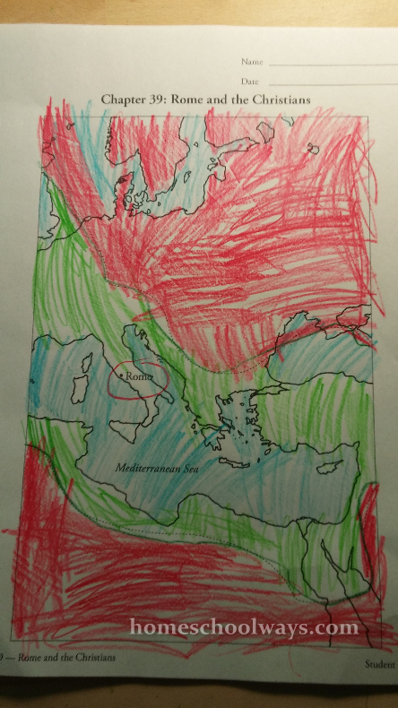 Map of Roman Empire colored by boy