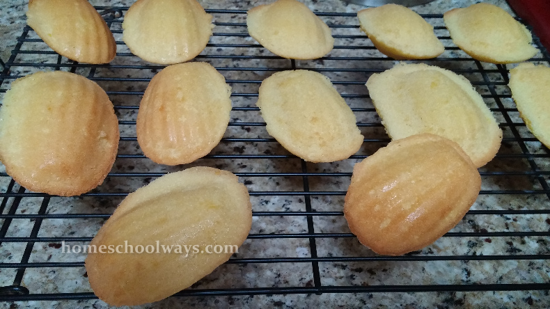 Madeleines cooling on rack