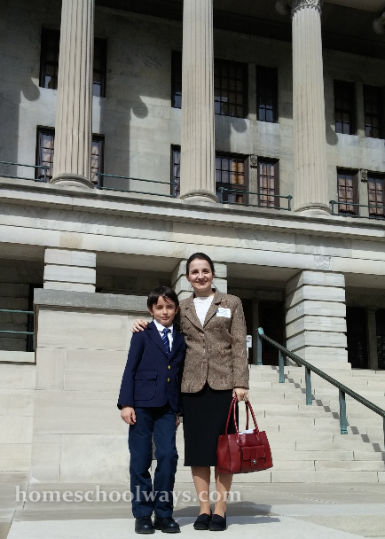 Mother and son visiting the Capitol in Nashville