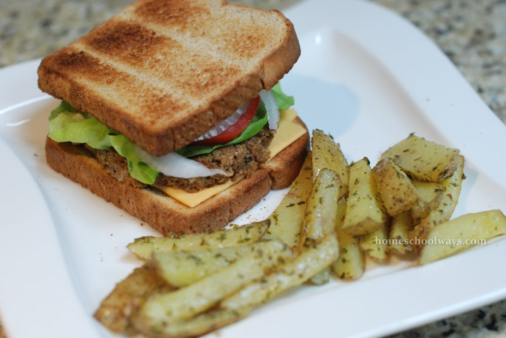 Homemade veggie burgers and oven fries