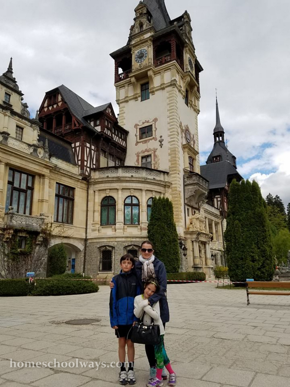 Peles Castle - mom and children visiting