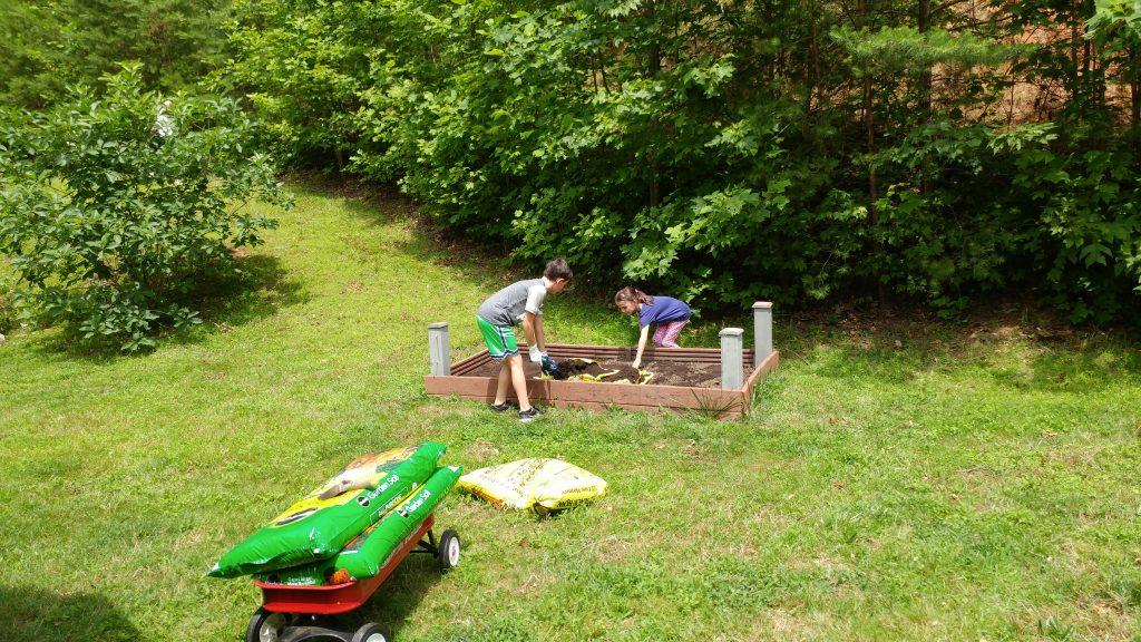 Boy and girl planting a garden