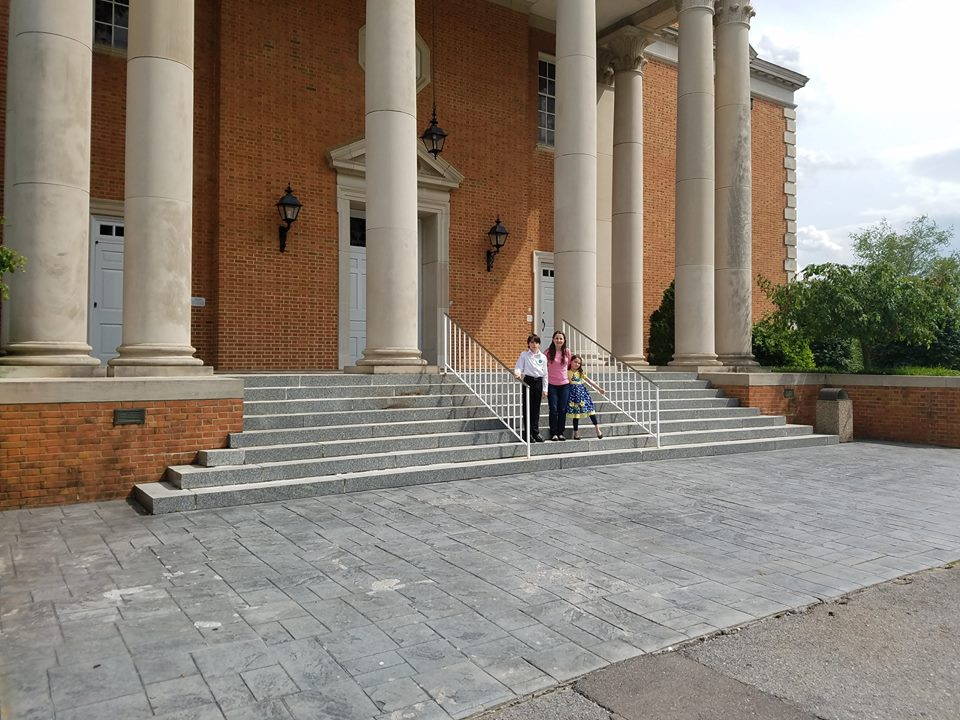 Mom and children at Milligan College