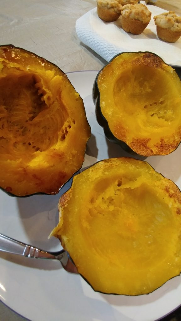 Baked acorn squash halves
