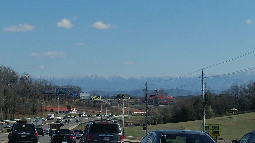 Driving toward mountains