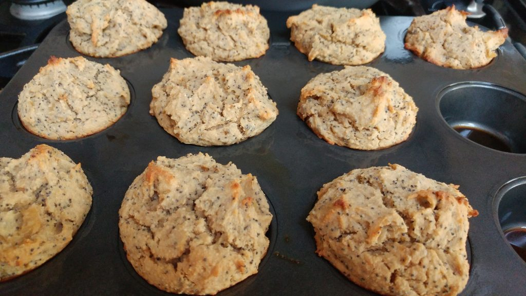 Gluten free, vegan poppy seed muffins