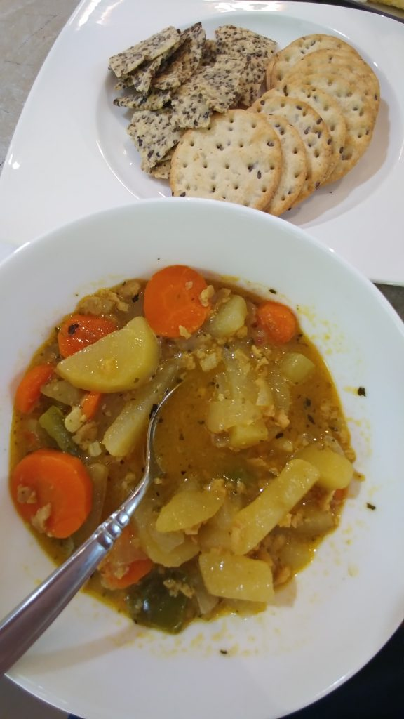 Irish potato stew and gluten free crackers