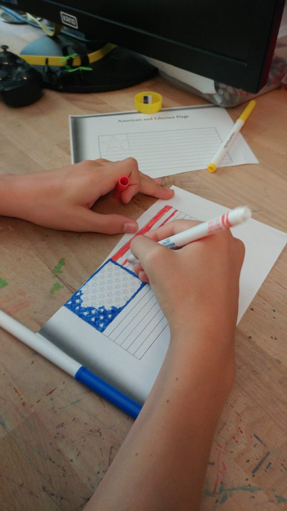 Coloring the American flag