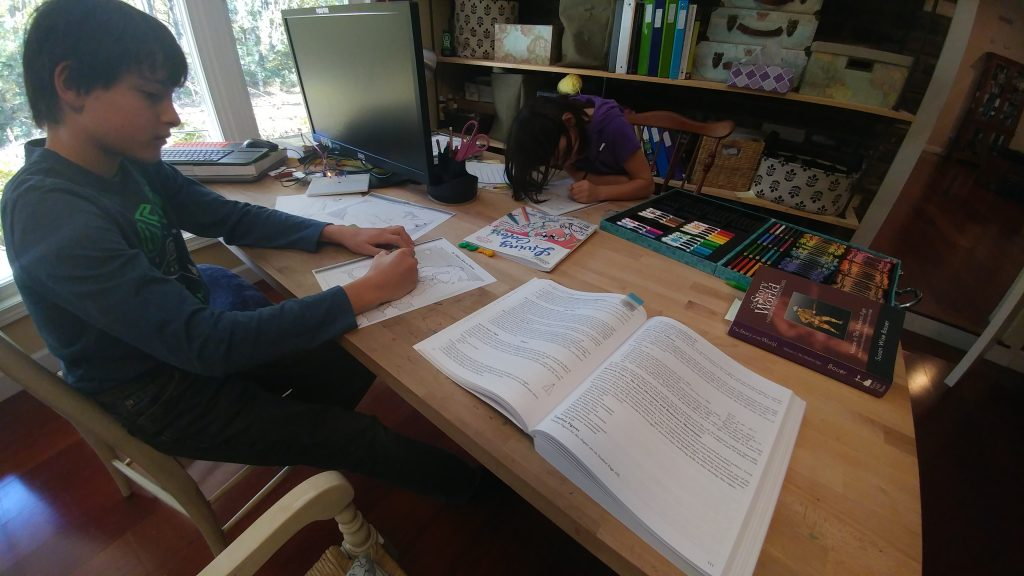 Boy and girl studying history homeschooling