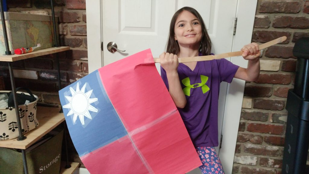 Proud of her Taiwanese flag