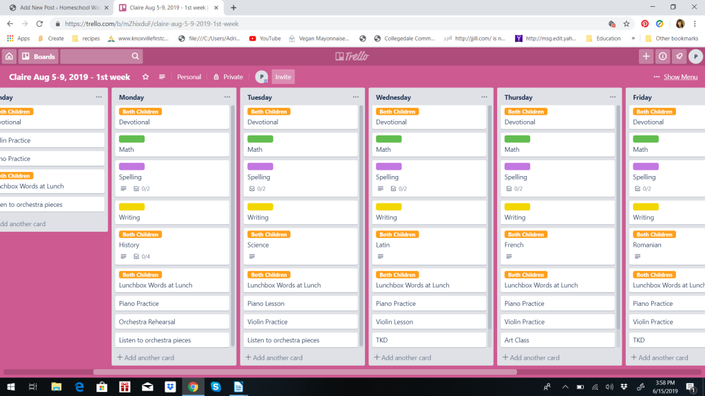 Trello Board for Homeschooling