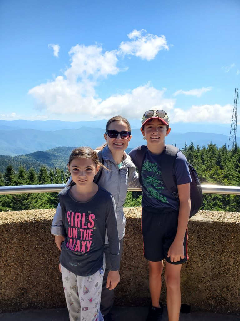 Mom and Kids at Clingmans Dome