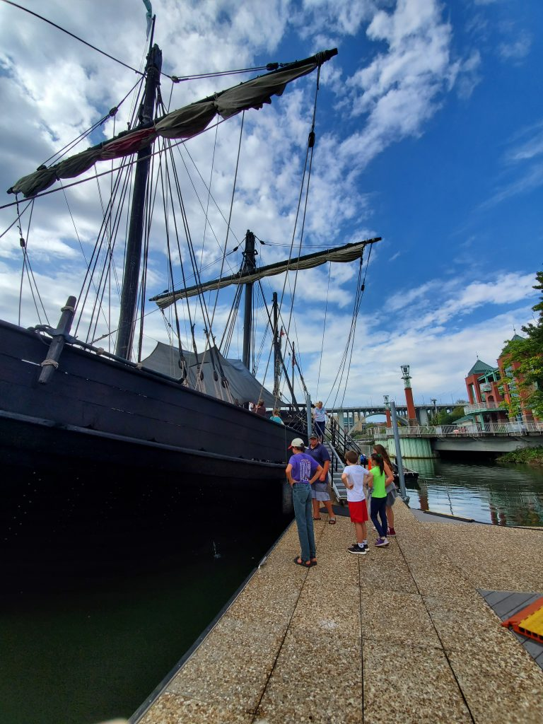 My kids next to the Pinta