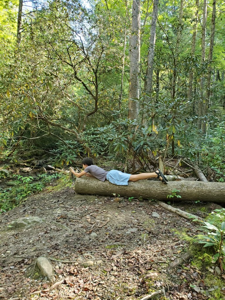 Boy lying on a log
