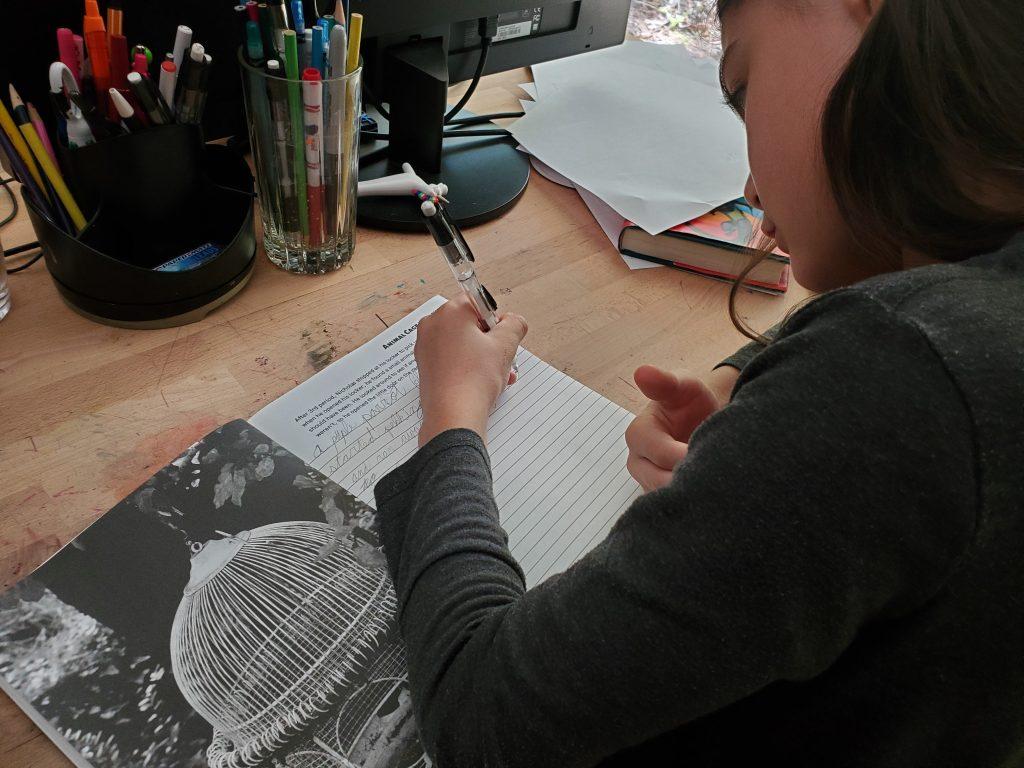 Girl writing in a workbook